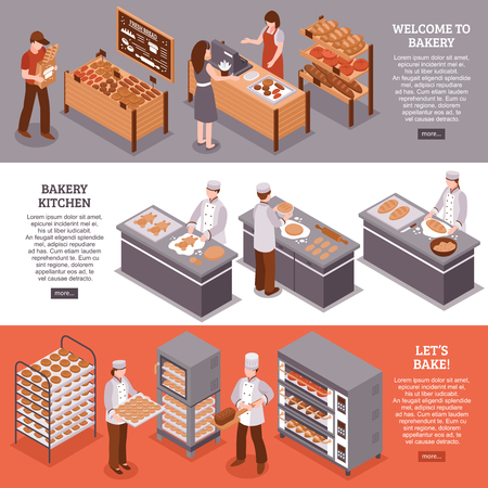 Bakery isometric horizontal banners with bakers in bakehouse kitchen equipment for cooking and fresh goods counters in bakery vector illustration Illustration