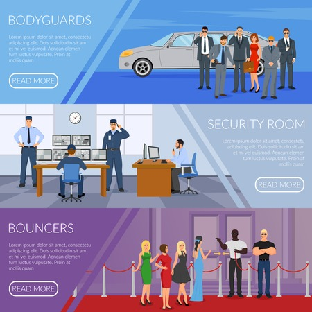 Bodyguard horizontal banners set set with bouncers symbols flat isolated vector illustration