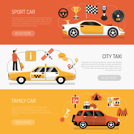 car speed: Flat set of colorful horizontal auto banners qith various kinds of cars isolated vector illustration Illustration