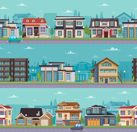 郊外の住宅と異なる建設ベクトル図のコテージのシームレスな街並みテンプレート。