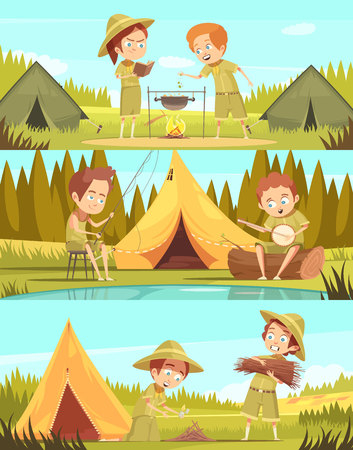 Scouting boys summer camp activities 3 retro cartoon horizontal banners set with campfire cooking isolated vector illustration