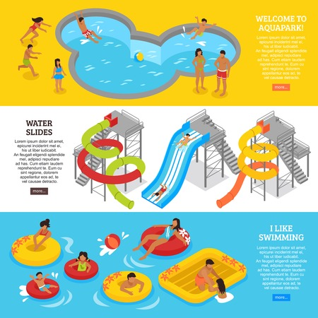 Water park horizontal banners set with swimming and recreation symbols isometric isolated vector illustration Иллюстрация