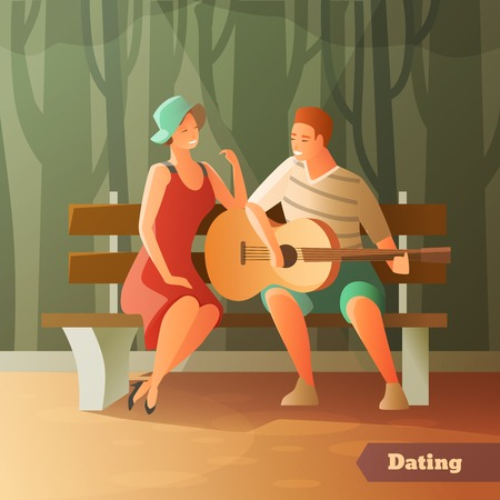 Romantic dinner dating couples flat composition with sweetheart characters sitting outdoors on wooden bench with guitar vector illustration Illustration