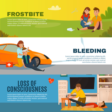 Colored emergency first aid people horizontal banner set with frostbite bleeding loss of consciousness descriptions vector illustration Illustration