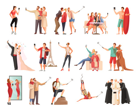 Set of isolated selfie photo modern people flat characters taking photographs of themselves in different situations vector illustration