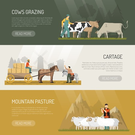 Farm animals banners with grazing cows sheeps pasture and horse cartage images with read more button vector illustration Illustration