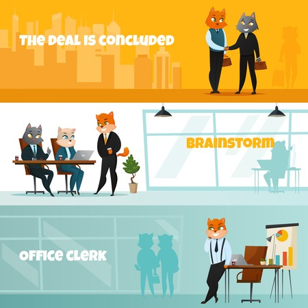 concluded: Three colored business cat horizontal banner set with the deal is concluded brainstorm and office clerk headlines vector illustration