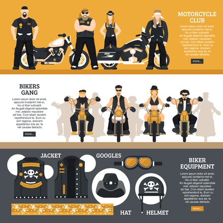 Bikers horizontal banners set with bikers gang symbols flat isolated vector illustration
