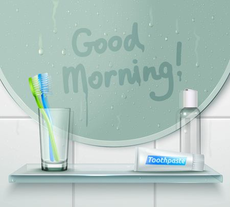 Bathroom misted mirror background with finger drawn text and glassy shelf with tooth brush and toothpaste vector illustration Illustration