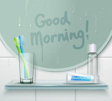 Badkamer verdwenen spiegel achtergrond met vinger getekende tekst en glazen plank met tandborstel en tandpasta vector illustratie