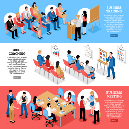 Business training group coaching and business meeting isometric horizontal banners with staff and audience vector illustration Illustration