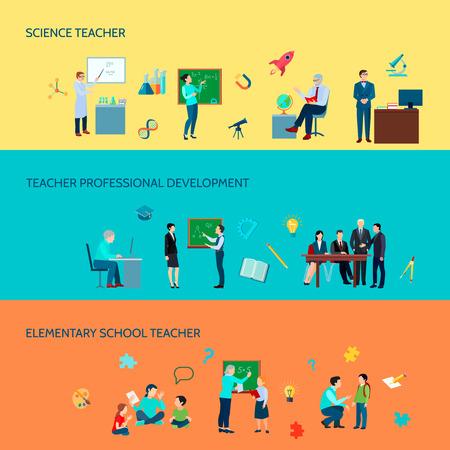 Desarrollo profesional de profesores de escuelas primarias y secundarias 3 pancartas de fondo de colores planos horizontal conjunto aislado ilustración vectorial Foto de archivo - 82441088