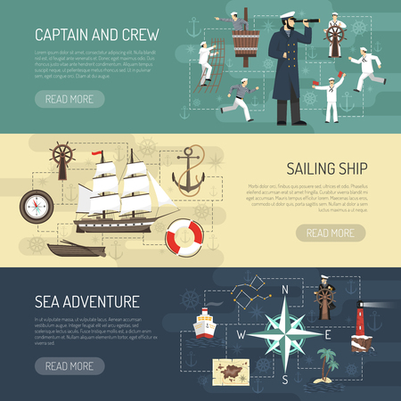 Sailing ship history captain crew and sea adventure information 3 horizontal banners webpage design isolated vector illustration