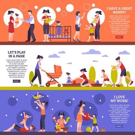 banners horizontales de niñera establecen con símbolos de niños y familiares aislado ilustración vectorial plana