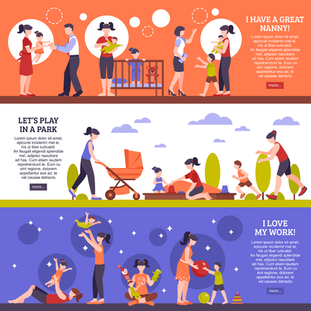 Nanny horizontal banners set with children and family symbols flat isolated vector illustration