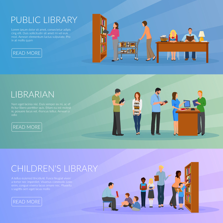 Library horizontal banners set with librarian symbols flat isolated vector illustration Illustration