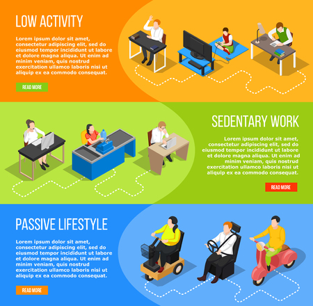 Set of three sedentary lifestyle isometric banners with images of people editable text and read more button vector illustration