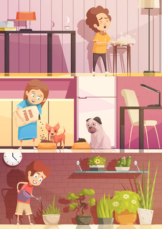 Enfants nourrir des animaux arrosage plantes et des plantes de nettoyage 5 bannières de bande dessinée rétro bannières rétro isolé illustration vectorielle Banque d'images - 82441114