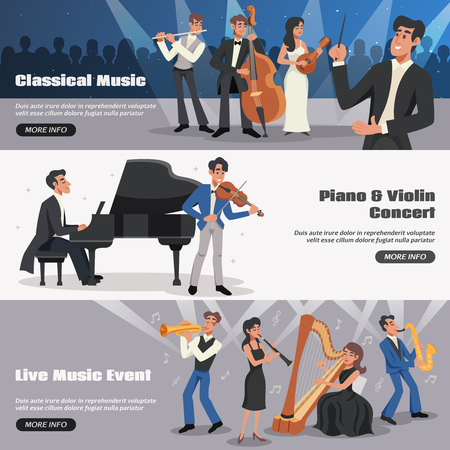 music: Three horizontal musician banner set with classical music piano and violin concert live music event descriptions vector illustration