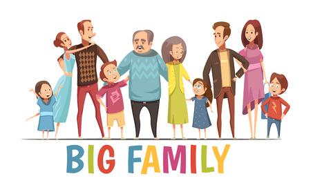 祖父母 2 つ若いカップルに大きな幸せな調和のとれた家族の肖像や小さな子供漫画のベクトル図