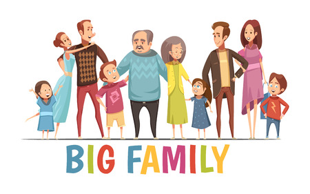 Big happy harmonious family portrait with grandparents two young couples and little children cartoon vector illustration