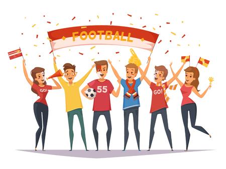 Gekleurde fan rooter buff groep samenstelling met vlaggen en banners meisjes en jongens vector illustratie
