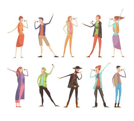 Ensemble de dix caractères de caractères plats isolé au karaoké avec des symboles de microphones et des costumes colorés illustration vectorielle Banque d'images - 82444681