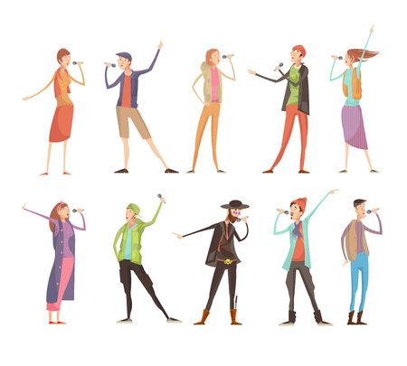 Set of ten flat isolated people characters at karaoke group party with microphones and colorful costumes vector illustration Иллюстрация