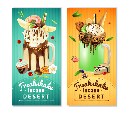 Extreme freakshake dessert 2 vertical cafe advertisement banners with milkshake topped with cream chocolate cake isolated vector illustration