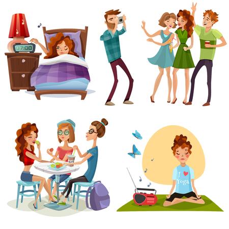 De jonge vrouwen niet-werkende dag weg met vrienden en yoga voor energie geeft 4 de vectorillustratie van beeldverhaalpictogrammen op.