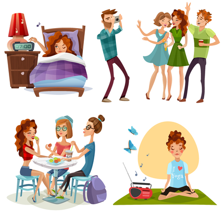 Young woman nonworking day off with friends and yoga for energy boost 4 cartoon icons vector illustration.