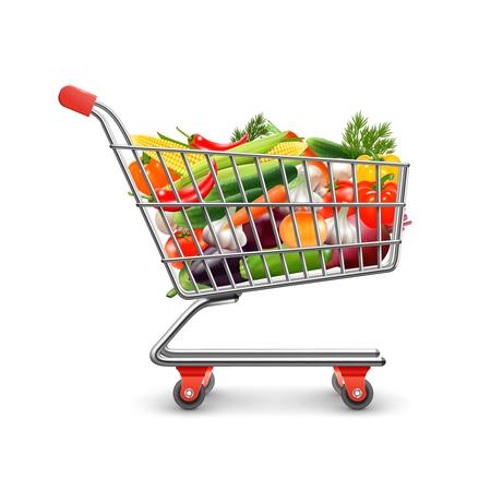 Groenten winkelen realistische concept met boodschappenwagentje en goederen vector illustratie Stock Illustratie