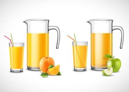 Jugs and glasses with apple and orange juice fruit with leaves on white background isolated vector illustration Illustration