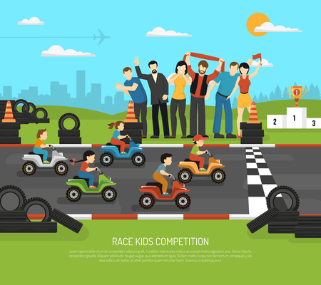 Race kids competition drive sport composition with flat children characters on race track and adult supporters vector illustration Illustration