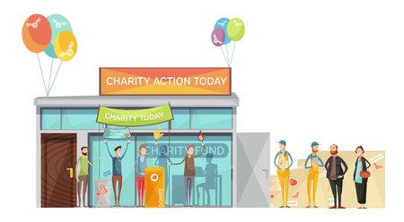 Groep vrijwilligers die voor liefdadigheid uitnodigen die vlakke vectorillustratie ontmoeten Stockfoto - 82441559