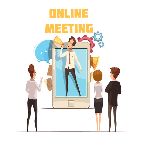 Online meeting concept with smartphone screen and people cartoon vector illustration