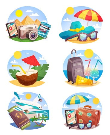 Summer holiday set of round compositions with landmarks beach accessories tropical cocktails air travel isolated vector illustration