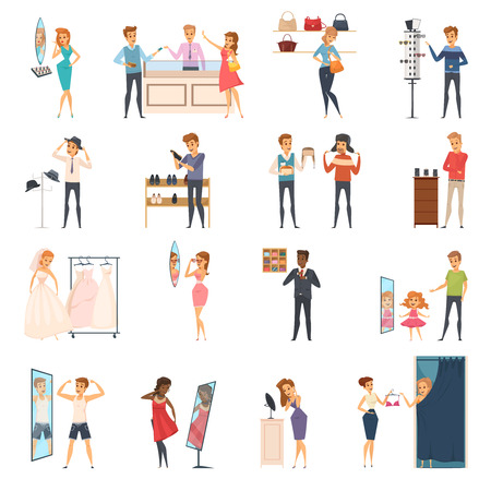 Colored and isolated trying shop flat people icon set with trying on clothes in store vector illustration Иллюстрация