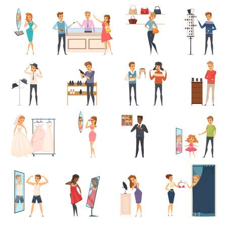Het gekleurde en geïsoleerde het proberen winkelt vlak die mensenpictogram met het proberen op kleren in opslag vectorillustratie wordt geplaatst
