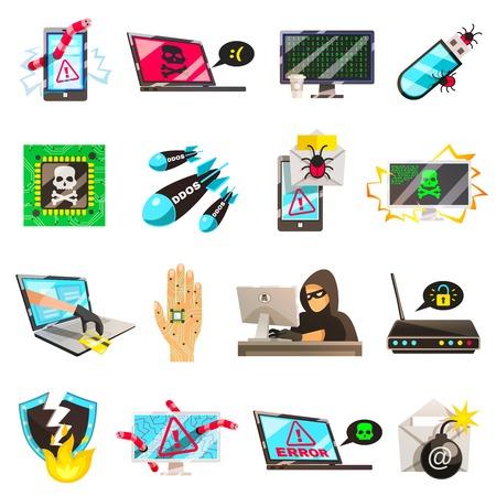 Hakkersreeks geïsoleerde conceptuele beelden van het wachtwoord van de de draadfraude van computervirussen het breken en cyberterrorism pictogrammen vectorillustratie