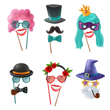 A Photo booth party set of carnival accessories with mask wig tie butterfly monocle tobacco pipe isolated cartoon elements vector illustration. Illustration
