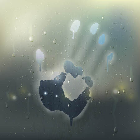 Colored hand on misted glass realistic composition with rain stains and handprint on the window vector illustration Иллюстрация