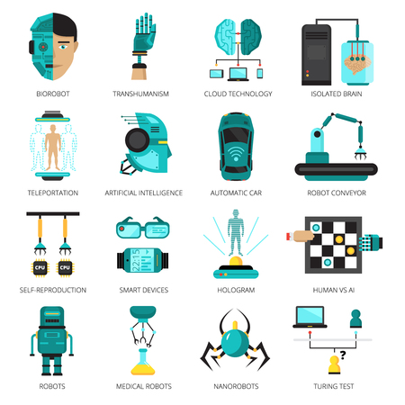 컬러 인공 지능 아이콘 biorobot 격리 된 두뇌 순간 이동 홀로그램 및 다른 기술 벡터 일러스트와 함께 설정