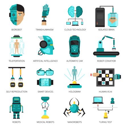 Farbige künstliche Intelligenz icon set mit Biorobot isoliert Gehirn Teleportation Hologramm und andere Technologien Vektor-Illustration Standard-Bild - 82441064