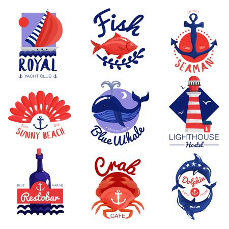 カフェでの航海のエンブレムの設定、クラブ、書道の文字、アンカー、海の動物とホステル分離ベクトル図