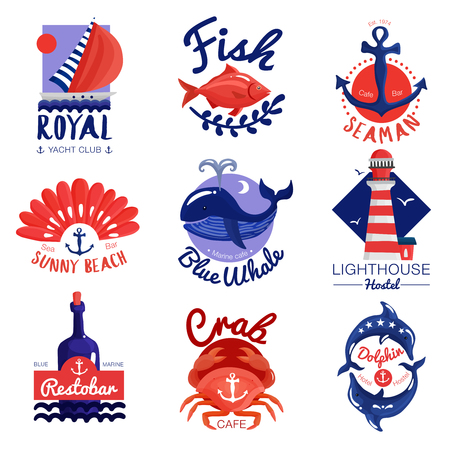 Set of nautical emblems for cafe, club, hostel with calligraphic lettering, anchor, and sea animals isolated vector illustration