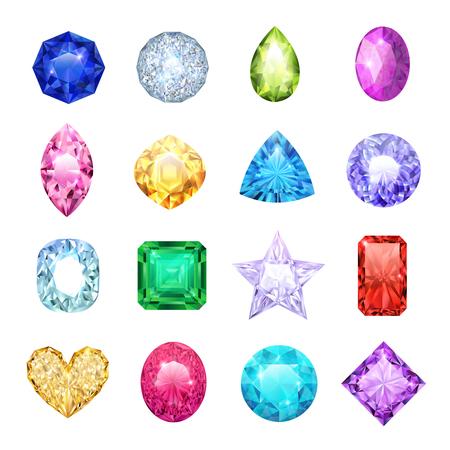 Conjunto de iconos realistas de gema con diferentes tamaños y colores ilustración de vector de zafiro de diamantes de rubí