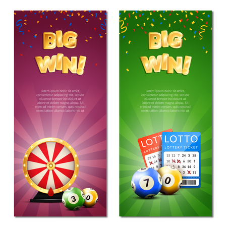 Lottery vertical banners set with decorative images of confetti realistic gaming accessories lottery tickets and editable text vector illustration Reklamní fotografie - 82516859
