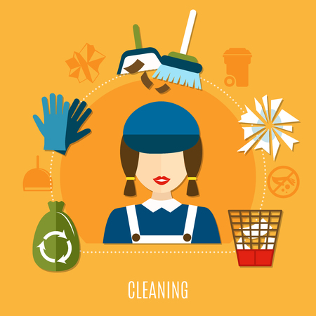 Garbage composition with uniformed charwoman female character cleaning equipment and waste icons with no littering pictograms vector illustration