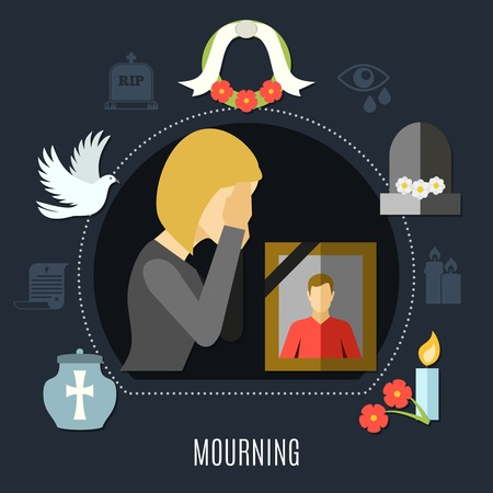 Mourning concept set with photo flowers and tears flat vector illustration Illustration